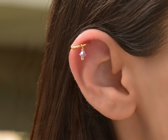 Helix Hoop Gold Helix Earring Cartilage Piercing Cartilage Etsy