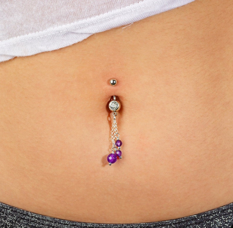 Dainty Belly Ring Belly Button Rings Belly Ring Dangle Amethyst Belly Button Jewelry Belly Piercing Surgical Steel Navel Jewelry