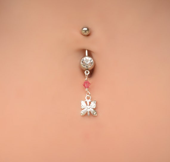 Belly Button Rings Dangle Belly Button Ring Navel Ring Belly Ring Belly Piercing Belly Ring Butterfly Silver Belly Ring Body Jewelry