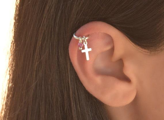 925 Sterling Silver Pink Opal Cartilage Earring Ring Opal Helix