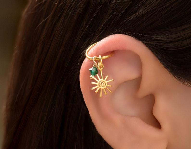 Gold Helix Piercing Hoop Helix Earring Cartilage Hoop Earing Cartilage Piercing Sun Helix Hoop Earring Ear Piercing Gold