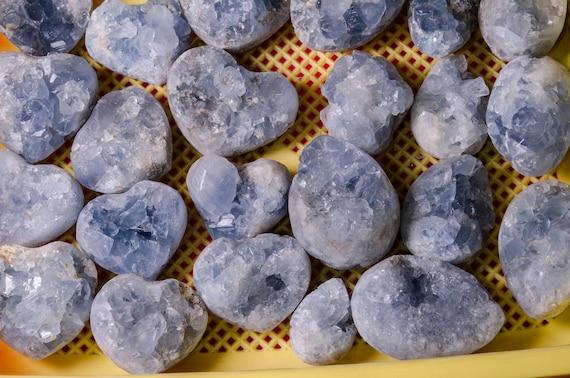 Celestite Geode Crystal Cluster Natural Raw Gemstone Crystal Grids-Quartz Points-Heart Shaped-Quartz Geode Gift-Decor-Chakra/&Reiki-Healing