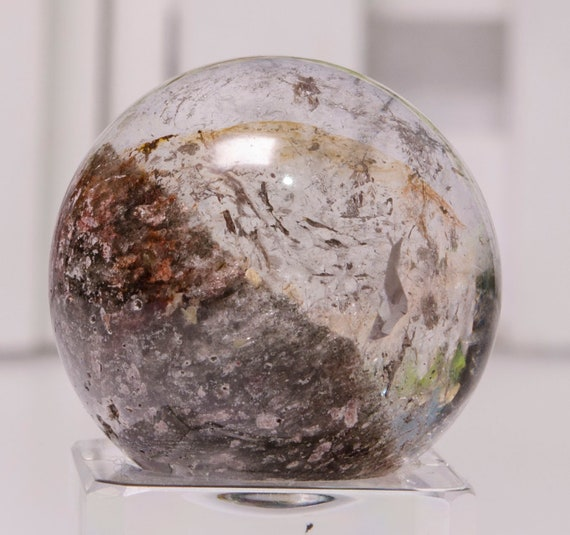 24 mm Layers Phantom Quartz Sphere Clear Crystal Ball Polished Round Bead Chakra/&Reiki-Healing-Gift For HerHim-Jewelry Making