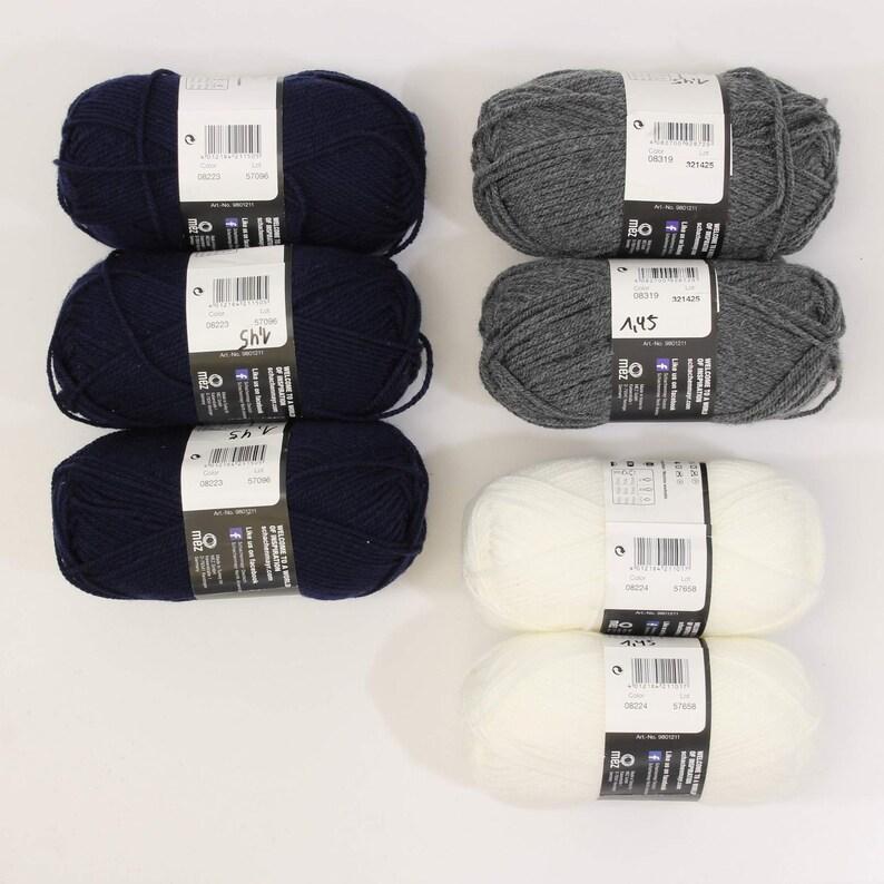 2.41 EURpcs package wool knitting yarn Bravo Originals white dark blue grey 7x50gr Schachenmayr