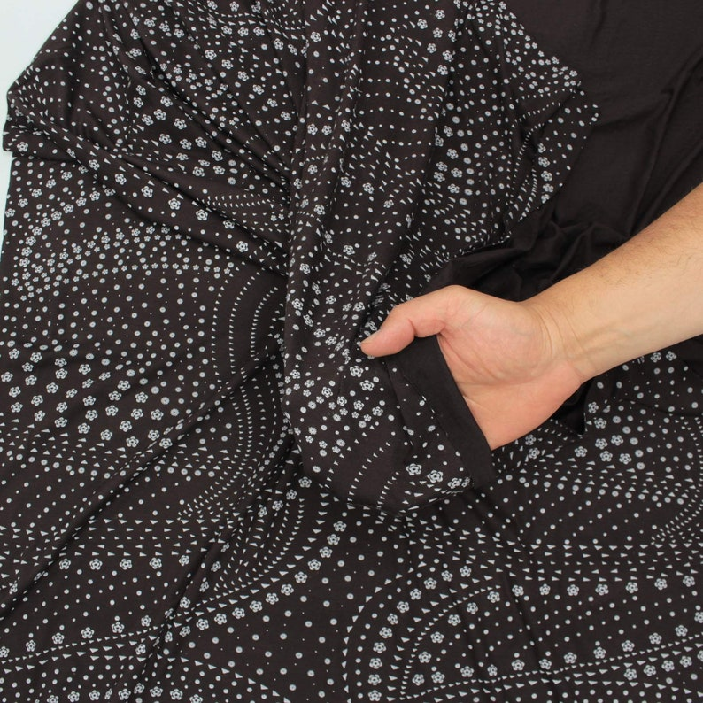 Grey Navy Blue Floral Print Knitted Jersey Dress Fabric 150 Cm