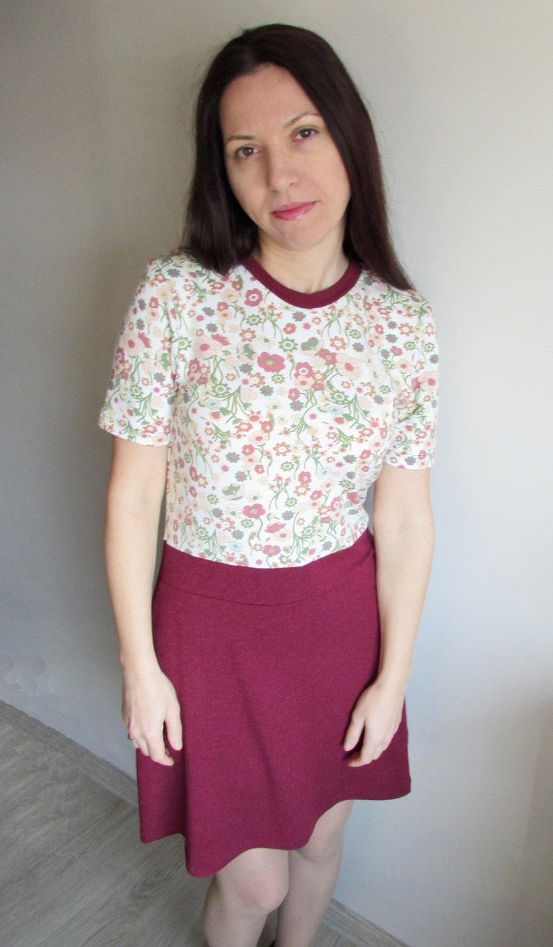 Dress in Bordeaux flowered pattern Ava
