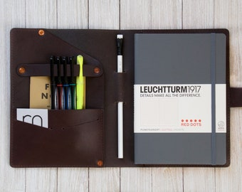 Leather Journal Cover For Leuchtturm1917 A5, Personalized Notebook Cover, Bullet Journal, Rhodia, Hardcover, Softcover, Volant, Cahier,