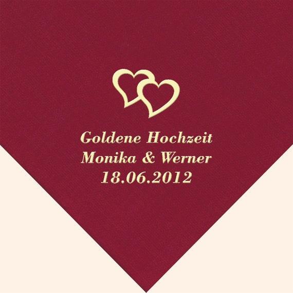 40 Servietten Für Goldene Hochzeit Bedruckt Mit Motiv Nach Wahl Personalisiert Namen Und Datum