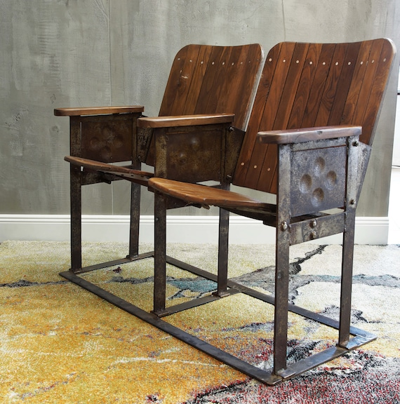 Pleasant Old Cinema Bench With 2 Seats Made Of Wood And Iron With Patina Andrewgaddart Wooden Chair Designs For Living Room Andrewgaddartcom