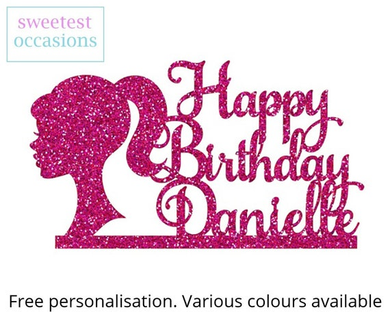 Groovy Barbie Birthday Cake Topper Or Any Occasion Glitter Etsy Personalised Birthday Cards Beptaeletsinfo