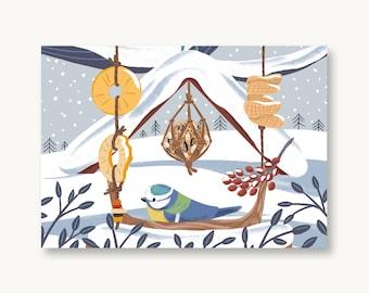 postcard winter blue tit