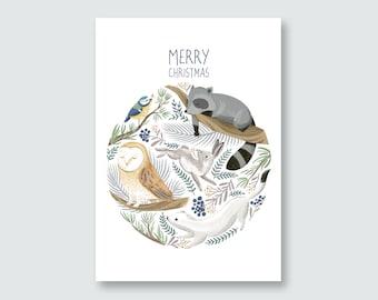 postcard winter animals