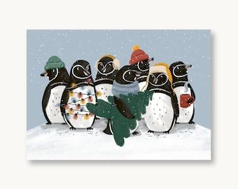 postcard Christmas penguins