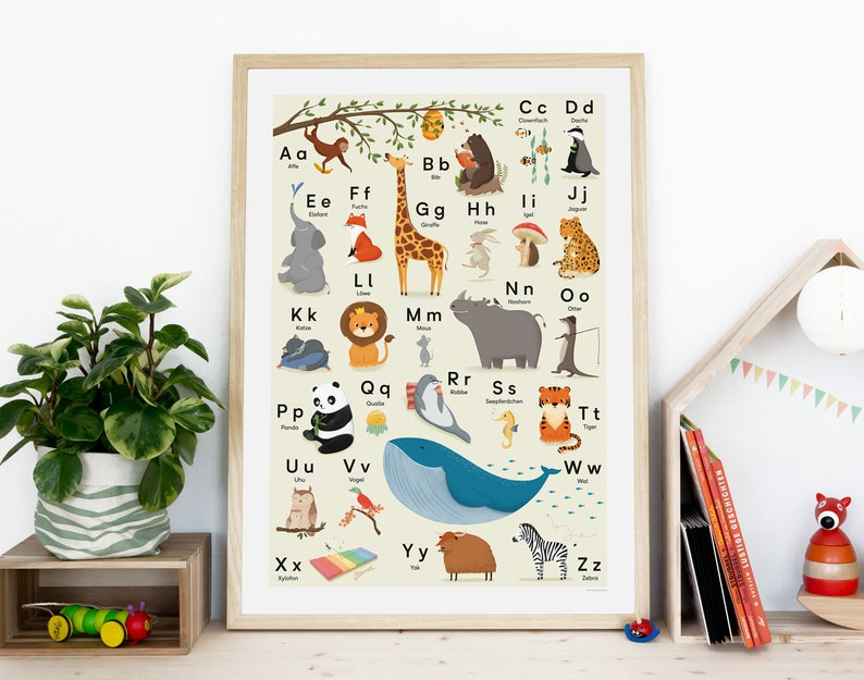 ABC poster animal alphabet DIN B2 50 x 70 cm image 0