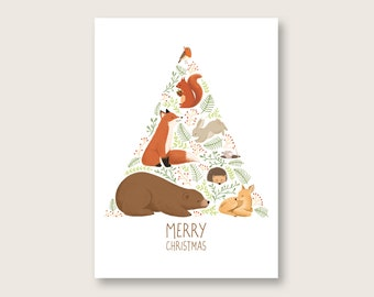 Postcard Christmas - forest animals