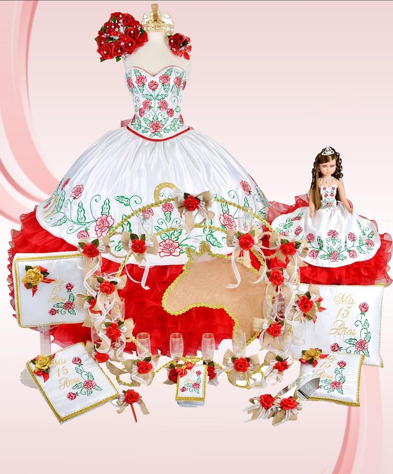 295328d41f5 Paquete de quinceañera Red Charra con vestido conjunto de