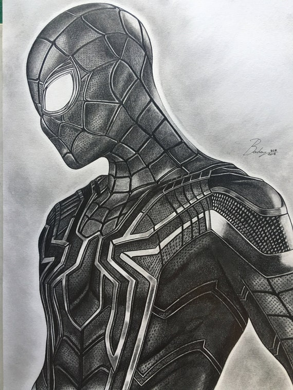 Original Pencil Portrait Of Spiderman From The Film Avengers Etsy