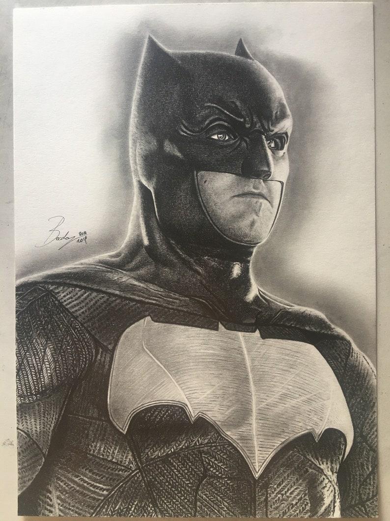 artwork portrait original print draw 21 x 29.7 cm Original pencil portrait of Batman-Justice League-size A4