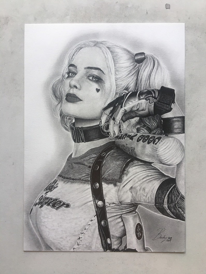 Harley quinns original portrait in pencil from the movie suicide squad size a4 21 00 x 29 70 cm artwork portrait original print draw