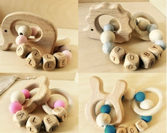 Personalised Baby Teething Ring   Wooden Silicone Teething Ring Chew baby  wooden toy 5b9c5c71e