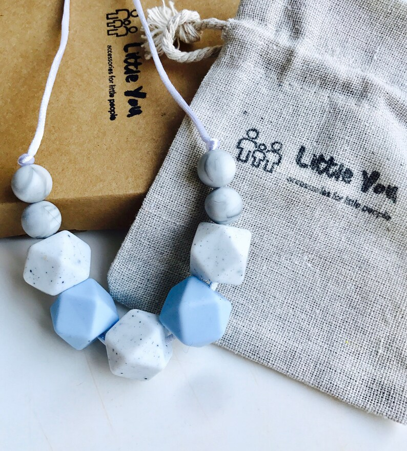 Silicone teething beads necklace babywearing sensory jewellery teether July C