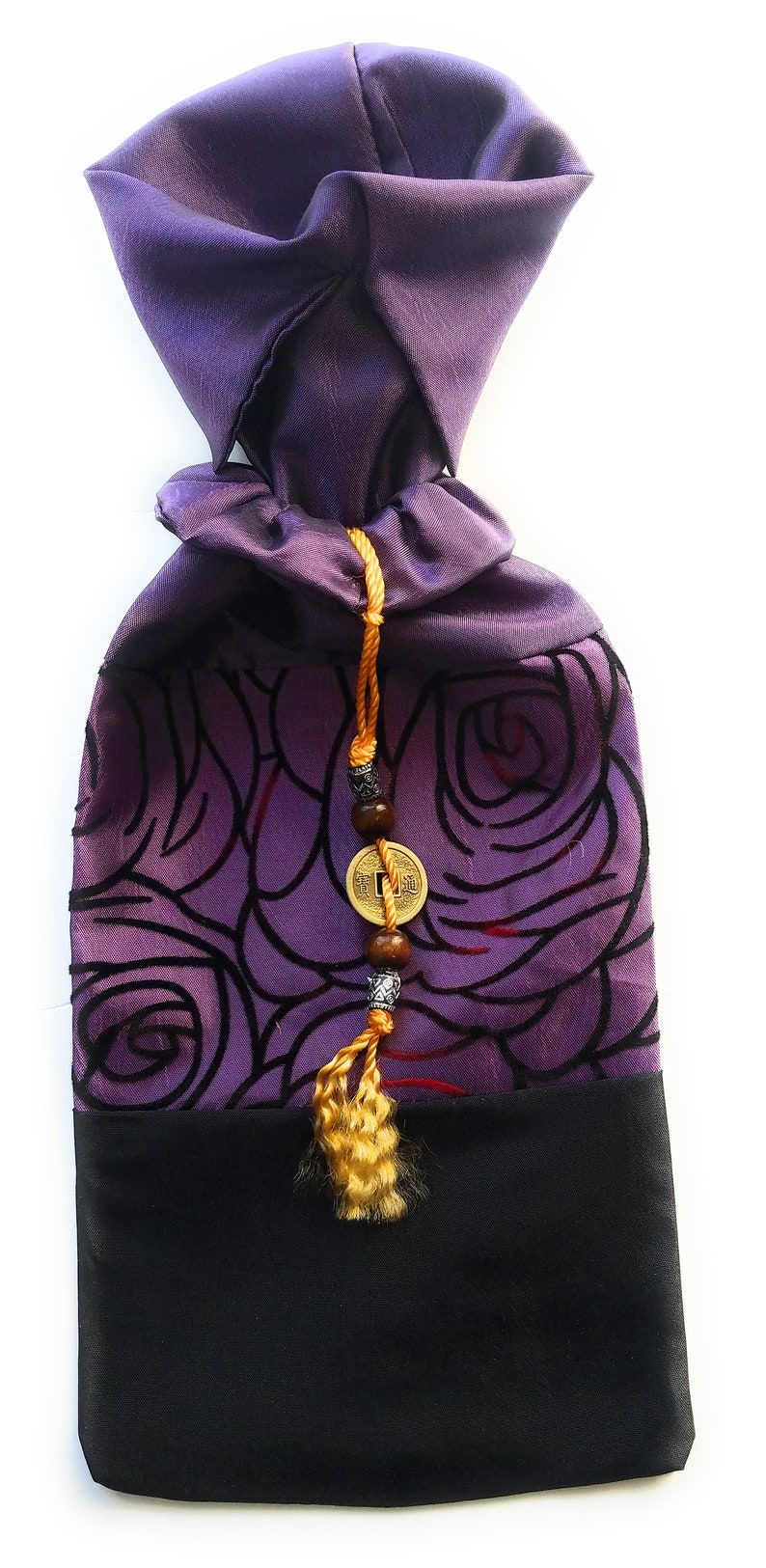 Wine bag Size:15x5 inches fits a regular size wine  bottle 2 tone Organza Roses and Thai brocade pattern Satin Wine Bottle Cover bag