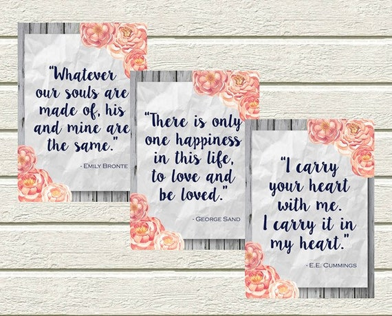 Rustic Bridal Shower Quotes | Bridal Shower Print | Bridal Shower Signs |  DIY Wedding | Peony Bridal Shower