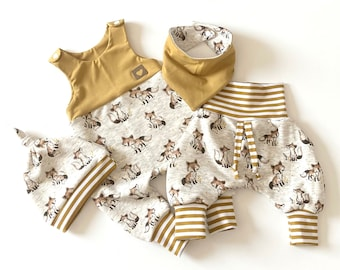 Warm baby set 4 pcs. Romper, pump pants, knot cap and reversible scarf fox motif winter set