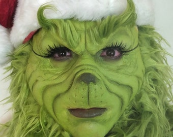 Christmas - Halloween - Special FX Makeup - Foam Latex Grinch Face Prosthetic