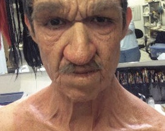 Halloween - Special FX Makeup - Old Age Foam Latex Prosthetic Combo - Neck, Nose, & Brow
