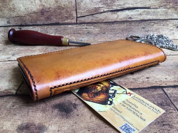 hand-carved Celtic motif Gift for Him Mens Wallet handmade Biker/'s wallet