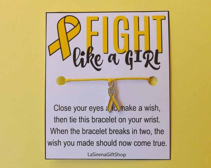 Fight Like A Girl Endometriosis Yellow Ribbon Wish Bracelet