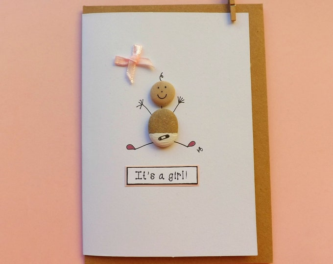 Baby Girl Pebble Art Card