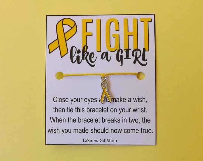 Fight Like A Girl Endometriosis Yellow Ribbon Wish Bracelet