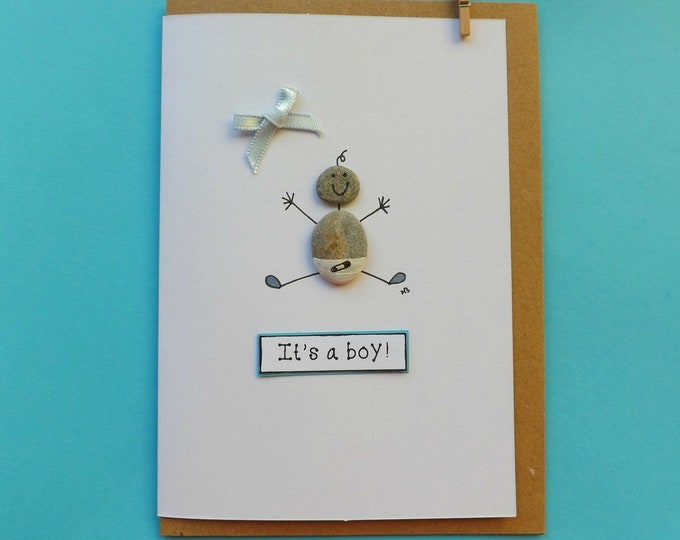 Baby Boy Pebble Art Card ~ Pebble Baby