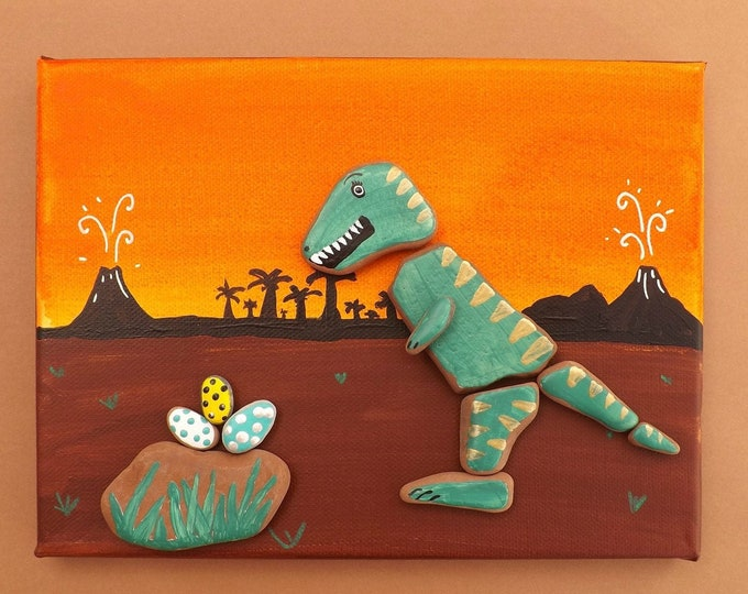 MTO Pebble Art Dinosaur Picture