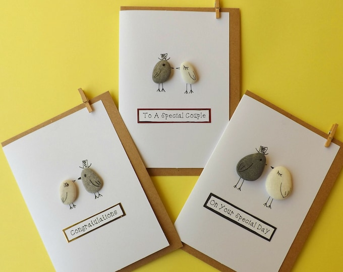 Pebble Art Wedding Birdies Couple Greeting Card