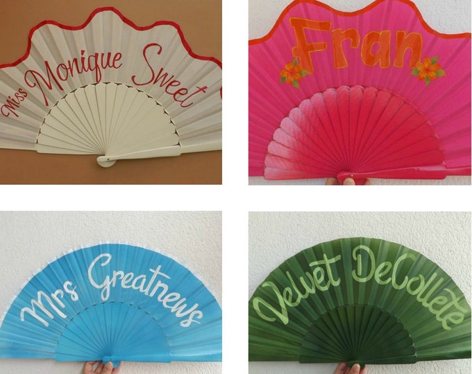 XL Supersize Pin Up Queen Model Hand Fan Customized with Name