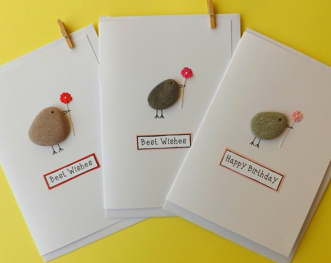 Pebble Art Rock Bird With Flower Greeting Card