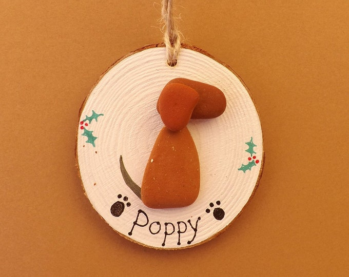 MTO Personalised Christmas Decoration Wood Slice Xmas Dog