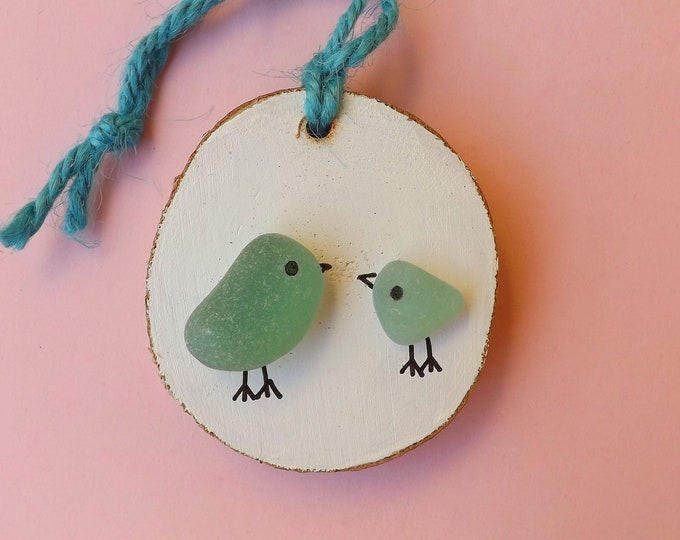 Sea Glass Art Wood Slice Blue Birds Large and Small