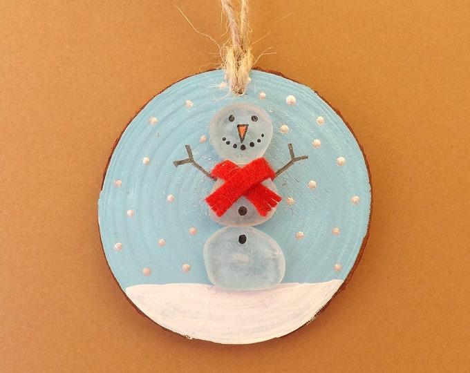 MTO Personalised Christmas Decoration Wood Slice Snowman