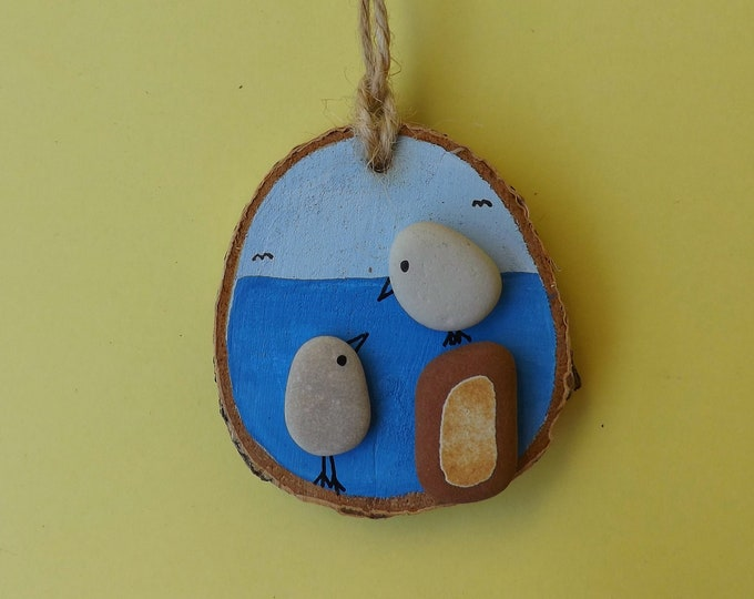 Sea Glass Art Wood Slice Birds by the Sea