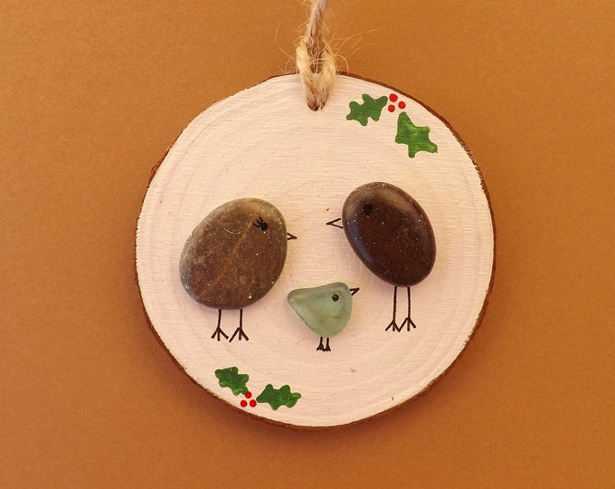 MTO Sea Pebble Art Wood Slice Christmas Bird Family Baby Blue Bird