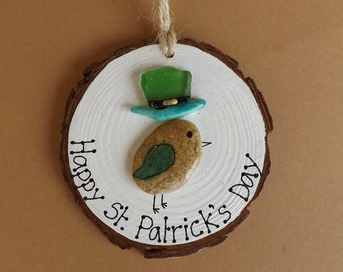 Sea Pebble Art St Patricks Day Birdie Picture Plaque Sign