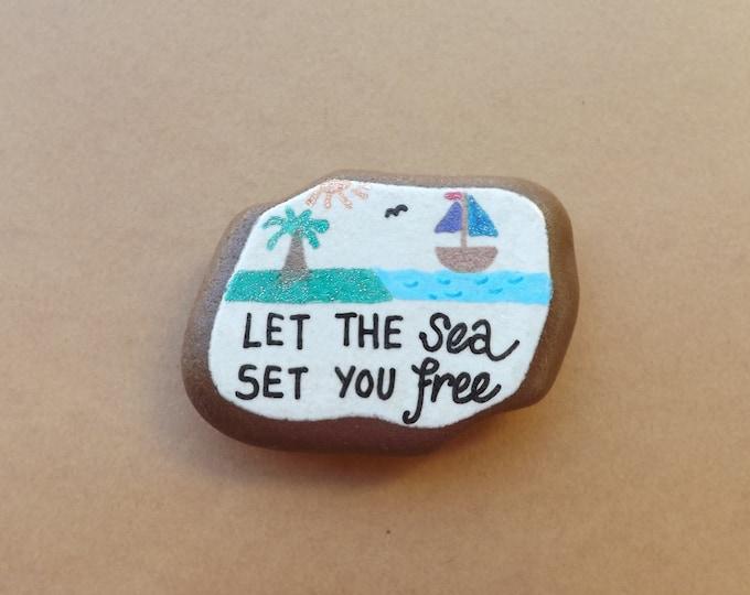 MTO Small Piece of Hand Painted Sea Pottery Magnet BOAT SEA Scene Pebble Art