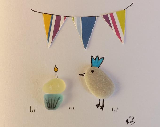 Pebble Art Card Cupcake Candle Bunting Birdie