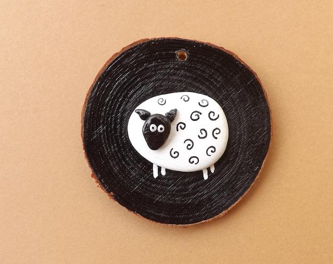 MTO Painted Pebble Art Sheep Wood Slice