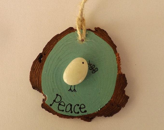 Sea Pebble Art Wood Slice Peace Dove Bird