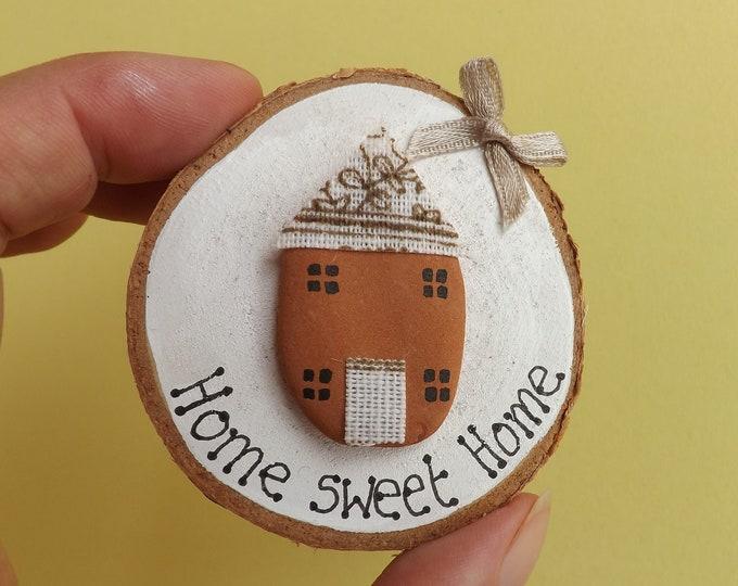 Sea Pottery Art Wood Slice Home Sweet Home Cottage